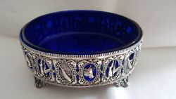 Very Fine Antique 1865 English Silverplate With Cobalt Glass Liner Centerpiece