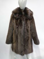 Brand New Brown Long Haired Beaver Fur Jacket Coat Women Woman Size All