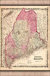 Poster Many Sizes Map Of Maine 1862