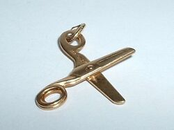 Vintage 14k Yellow Gold 3d Moveable Scissors Sewing Charm