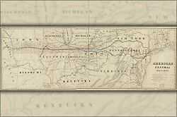 Poster, Many Sizes Map Of American Central Railroad Ohio Indiana Illinois, 186