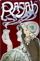 Poster, Many Sizes Art Nouveau P3 Color Poster Of A Woman Holding Rajah Coffee