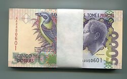 P65b Unc. St. Thomas And 5000 Dobras 1996 Money X 50 Bank Notes 1/2 Bundle
