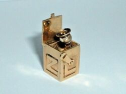 VINTAGE 14k YELLOW GOLD 3D JACK IN THE BOX CHARM jack pops out