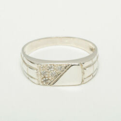 14ct White Gold Cubic Zirconia Mens Band Ring - Sizes N To Z