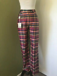 MOSCHINO CHEAP AND CHIC NWT $325 SILK MULTI COLOR PLAID DRESS PANTS SZ 4