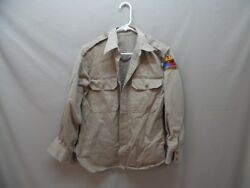 Menand039s Vintage 40s 50s Military 3rd Armored Troop Spearhead Shirt 15 X 32 H701