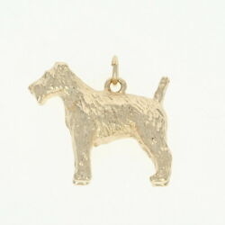 Terrier Dog Charm - 14k Yellow Gold Textured Coat Canine