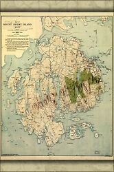 Poster Many Sizes Map Of Mount Desert Island Maine 1917