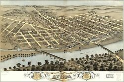 Poster, Many Sizes Birdseye View Map Of Attica, Indiana 1869