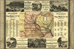 Poster, Many Sizes; Map Of Chicago Milwaukee & St. Paul Railroad 1874