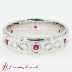 1/4 Carat Mens Infinity Style Wedding Band With Ruby Gemstone In 18k White Gold