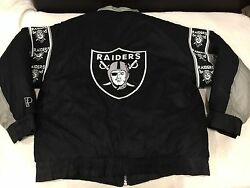 Vtg🔥 Pro Player Nfl Oakland Raiders Reversible Jacket Black Spell Out Perf Sz L