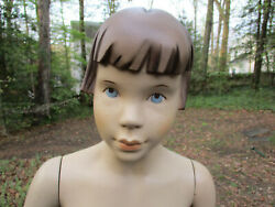 Vintage 24 Girl Mannequin Torso Wood Stand Female Child Moveable Hands 40s 50s