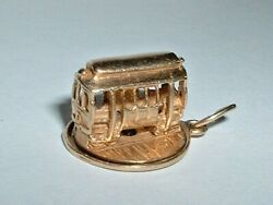 Vintage 14k Yellow Gold 3d San Fransico Trolley Cable Car Pendant Charm Turns