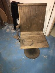 Rare Early Cast Iron School Masters Desk Chair