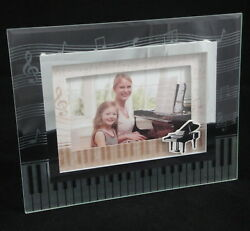 3d Piano Music Table Top Photo Frame By Gift Alliance Etched Clear Glass 4.25x6