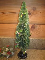 Christmas Bottle Brush Tree Decorated With Holly And Berries 14 High