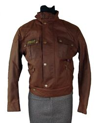 Belstaff Iconic Brown Waxed Rebel Motorcycle Jacket Blouson Size 40 Made Italy