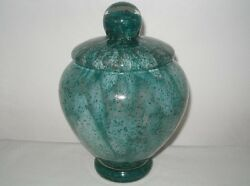 Exquisite Glass Bowl Or Jar With Top Art Deco Cluthra Clouds Incredible Bubbles
