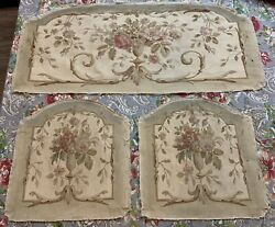 3 Large Antique French Sofa Tapestry Upholstery With Flowers