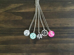 Monogrammed Round Enamel Disc Necklace-silver Chain Custom