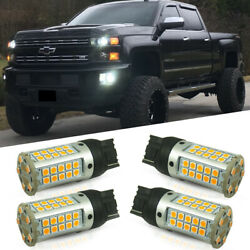 4x Amber LED Bulbs Front Turn Signal Lights For 14-19 Chevy Silverado 2500 3500