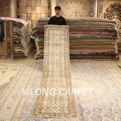 Yilong 2.5and039x12and039 Beige Hand-knotted Silk Carpet Strip Hallway Rug Runner 243b