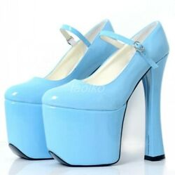 Womens Close Toe High Block Heel Shoes Patent Leather Pure Color Buckle Strap Sz