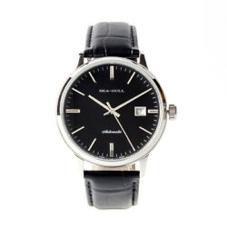 Seagull Leather Band St2130 Movement Exhibition Back Automatic Men's Watch Black