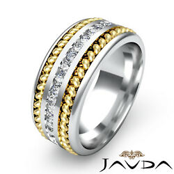 1.00ct. Channel Diamond Rope Design Menand039s Eternity Wedding Band 14k 2 Tone Gold