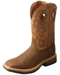 Twisted X Menand039s Lite Cowboy Work Boot - Wide Square Toe - Mlccw05 Comp Toe