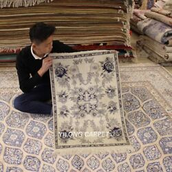 Yilong 2and039x3and039 White Area Rug Handmade Silk Tapestry Bedroom Classic Carpet 236h