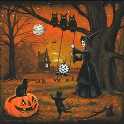 10x10 Print Of Painting Ryta Halloween Witch Black Cat Haunted House Steampunk