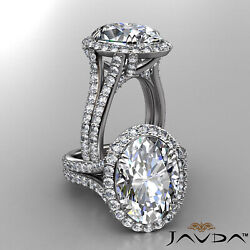 Halo Micro Pave Setting Oval Cut Diamond Engagement Gold Ring GIA D VVS2 7.06Ctw