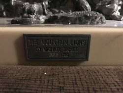 Michael Ricker Pewter Statue - American Predator Series - Mountain Lions And Cubs