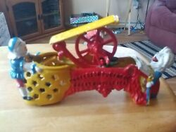 Reproduction Cast Iron Professor Pug Frog Great Bicycle Feat Mechanical Bank C1