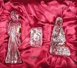 Waterford NATIVITY HOLY FAMILY Set of 3 Crystal Pieces Mary Joseph Jesus NIB