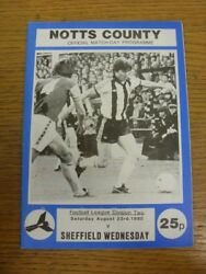 23/08/1980 Notts County V Sheffield Wednesday . Faults With This Item Should Ha