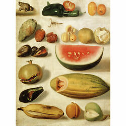Bustos Still Life With Scorpion Frog Kitchen Fruit Painting Large Canvas Print