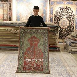 Yilong 3and039x5and039 Tree Of Life Hand-knotted Silk Carpet Tapestry Prayer Area Rug 298h