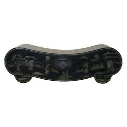 Chinese Black Lacquer Color Graphic Pillow Shape Display Box Cs5038