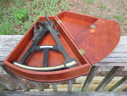 Antique 1800's E And G W Blunt Sextant And Wood Case Maritime Navigation