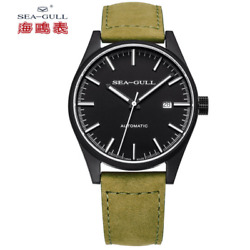 Seagull Leather Strap Pvd Black Case Vintage Luminous Hands Automatic Watch