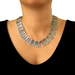 Melesio Rodriguez Taxco Sterling 925 Silver Domino Two Tone Necklace Gift Boxed