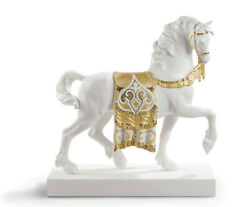 Lladro A Regal Steed Horse Golden Sculpture 7186 Brand Nib Deco Save Large F/s