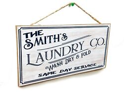 Personalized quot;Your Name#x27;squot; Laundry Co. 5quot; x 10quot; Laundry Room SIGN Custom Rustic $13.99