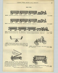 1905 Paper Ad Pressed Steel Toy Trains Cast Iron Horse Cart Wagon Ship Boat
