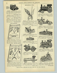 1905 Paper Ad Mechanical Friction Toys Steam Boat Locomotive Car Spring Push Toy