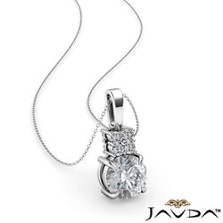 Round Diamond Claw Basket Prong Setting Necklace Solitaire Bail Pendant 0.29ct.